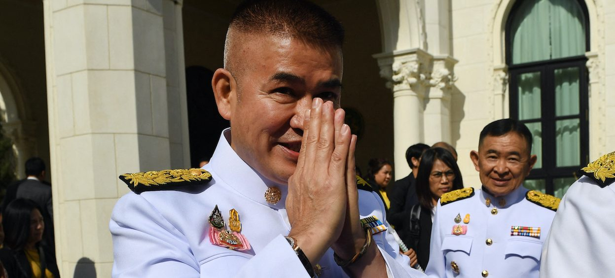 Thailand's Deputy Agriculture Minister Thammanat Prompao gestures at Government House before the swearing-in ceremony of the new Thai cabinet in Bangkok on 16 July, 2019. (Photo: Lillian SUWANRUMPHA/ AFP)