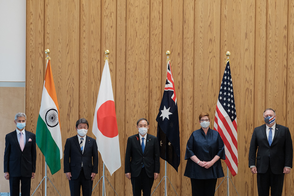 (L-R) India's Foreign Minister Subrahmanyam Jaishankar, Japan's Foreign Minister Toshimitsu Motegi, Japan's Prime Minister Yoshihide Suga, Australia's Foreign Minister Marise Payne and US Secretary of State Mike Pompeo pose for photographs before a Quad Indo-Pacific meeting at the prime minister's office in Tokyo on 6 October, 2020 in Tokyo. (Photo: Nicolas Datiche/ AFP)