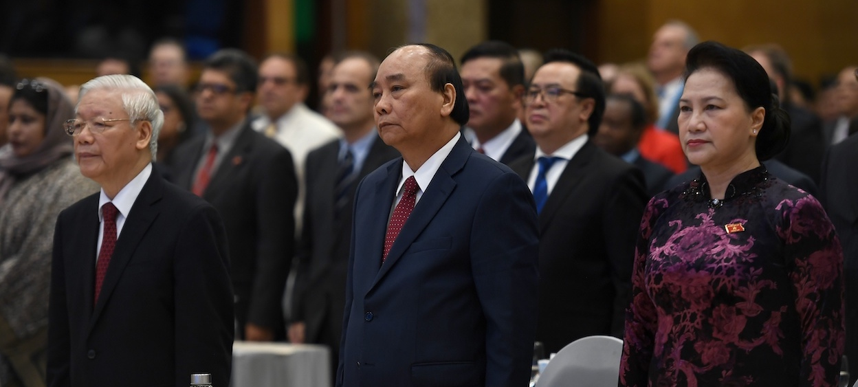 Informal but credible information indicates that General Secretary Nguyen Phu Trong (left) will stay on as the party head and Prime Minister Nguyen Xuan Phuc (centre) will be promoted as state president.