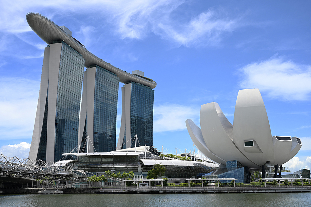 Marina Bay Sands hotel and resort and the ArtScience Museum
