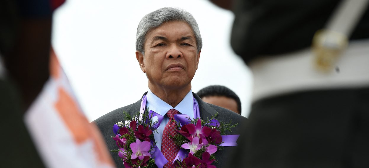 Then Malaysian Deputy Prime Minister Ahmed Zahid Hamidi attends the ceremony to commence construction of a 30 million dollar lubricant blending plant, near the capital Colombo on 21 July, 2016. (Photo by Ishara S. KODIKARA/ AFP)