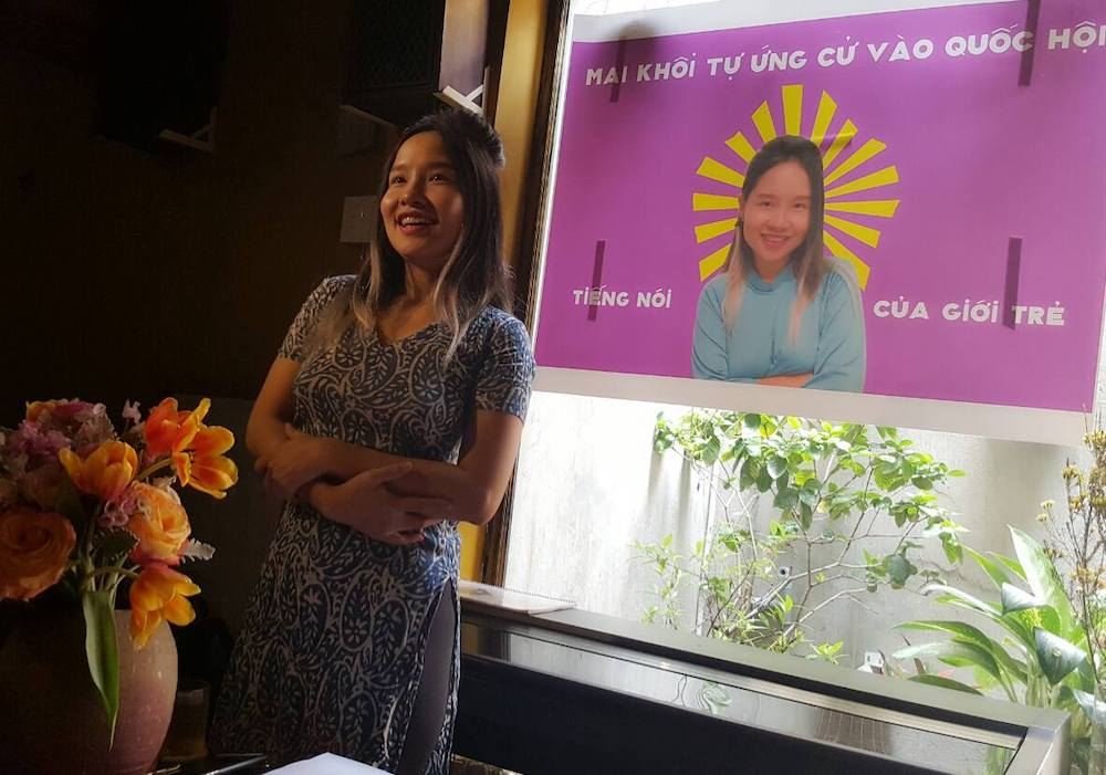 Former pop singer and activist Mai Khoi commemorating her self-nomination experience in 2016. (Photo: Do Nguyen Mai Khoi/ Facebook)