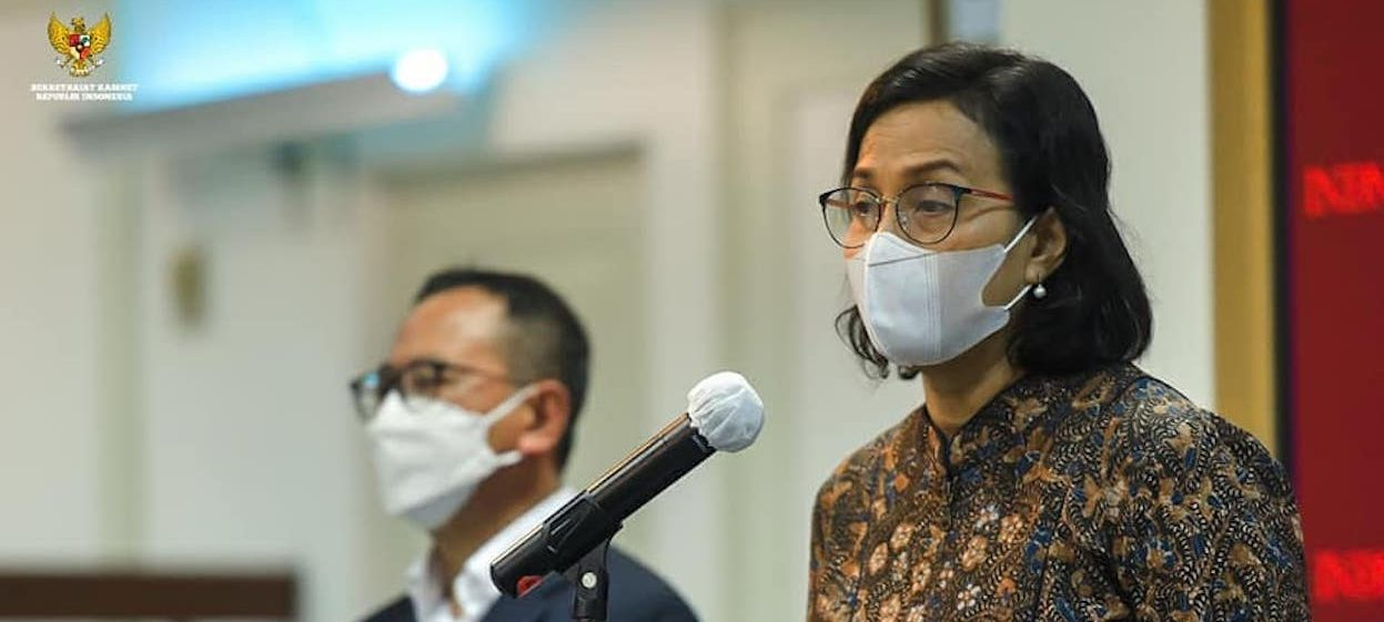 Minister of Finance Sri Mulyani as Chairperson of INA Board of Supervisors delivers a press statement at the Presidential Office, Jakarta, on 16 February, 2021. (Photo: Cabinet Secretariat of the Republic of Indonesia, Facebook)