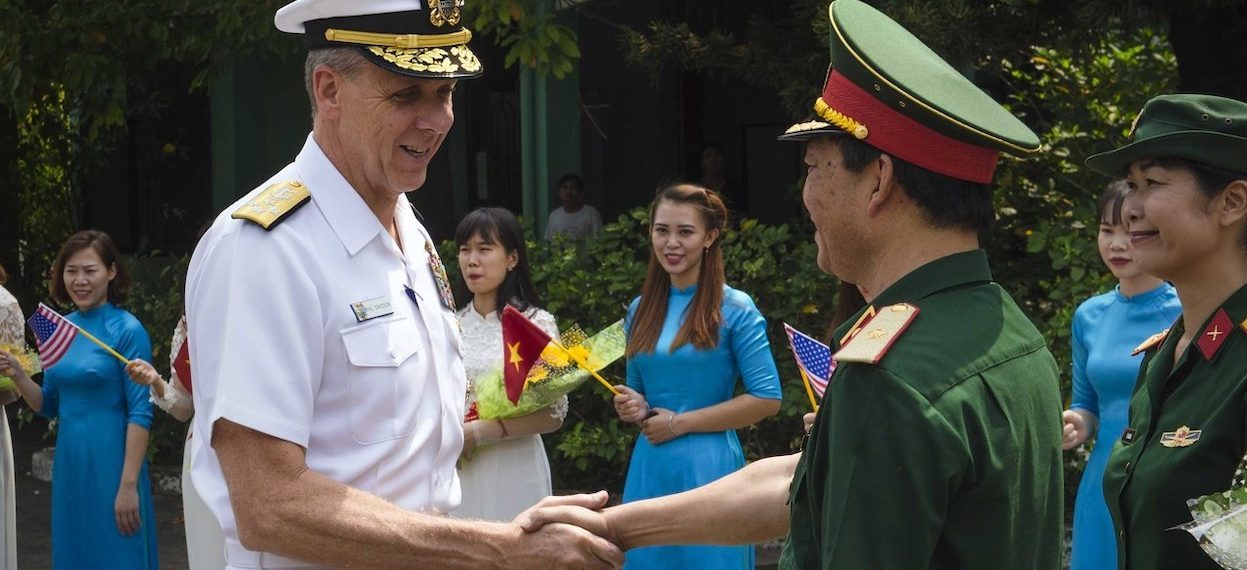 U.S. Indo-Pacific Command Admiral Phil Davidson is greeted by Director of Military Hospital 175, Major General Nguyen Hong Son during a visit to the hospital with U.S. Consul General, Mary Tarnowka in Ho Chi Minh City, Vietnam on 18 April, 2019. (Photo: Joshua Bryce BRUNS/ U.S. Indo-Pacific Command)