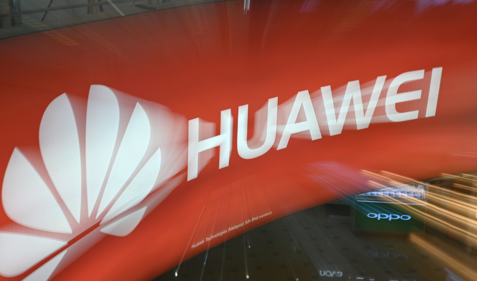 logo of Chinese telecoms giant Huawei at a shopping mall in Kuala Lumpur