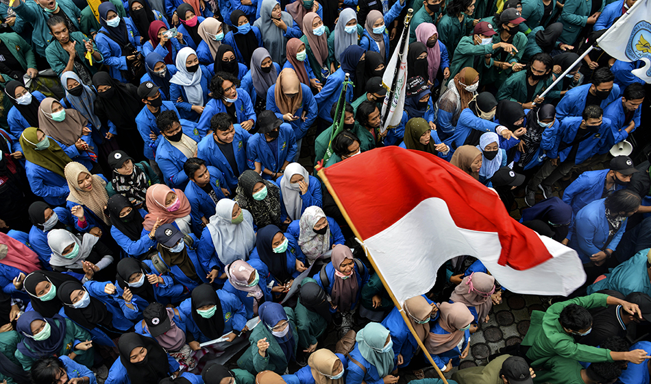 Activists take part in a demonstration on the last day of a three-day nationwide strike