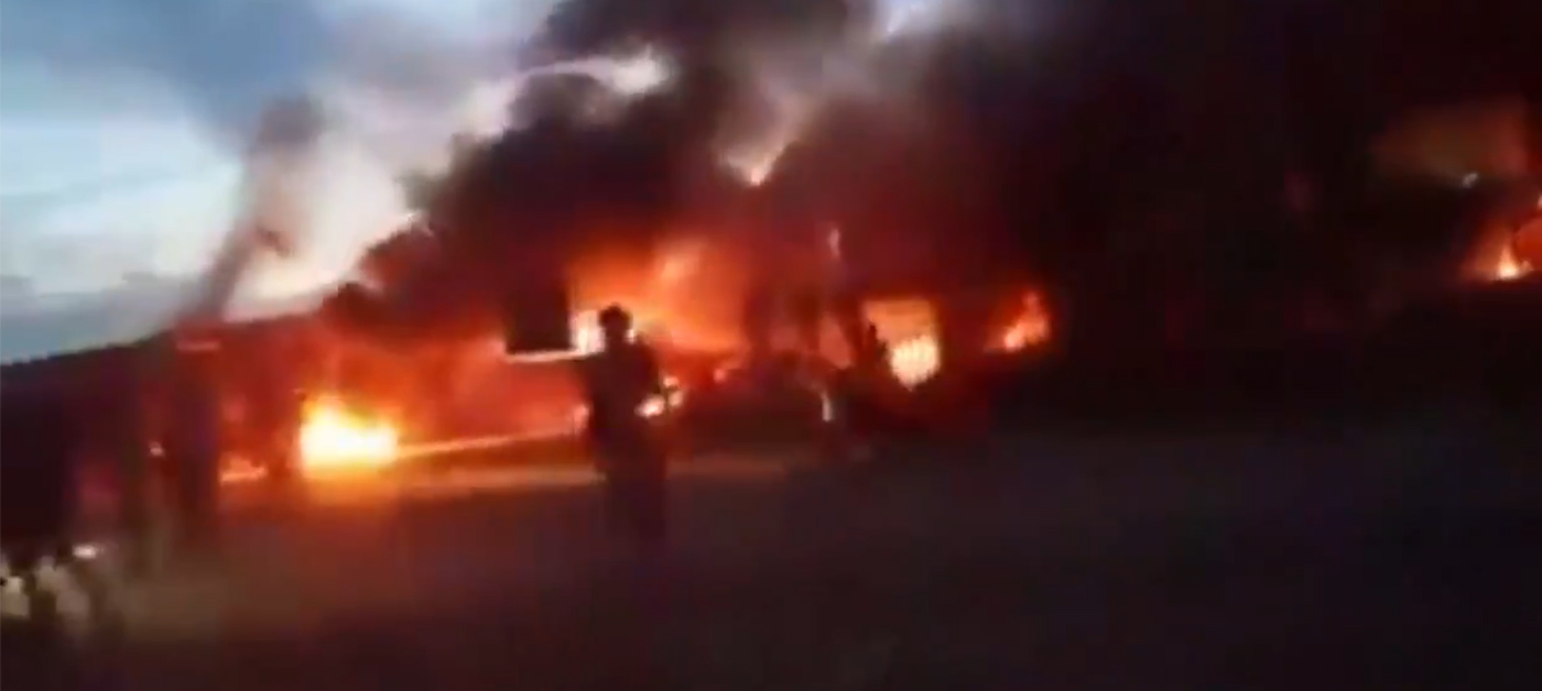 Screengrab from a video showing buildings and vehicles of a Chinese-backed nickel firm in Sulawesi on fire
