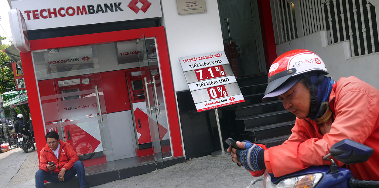 Photo of riders outside Techcom Bank
