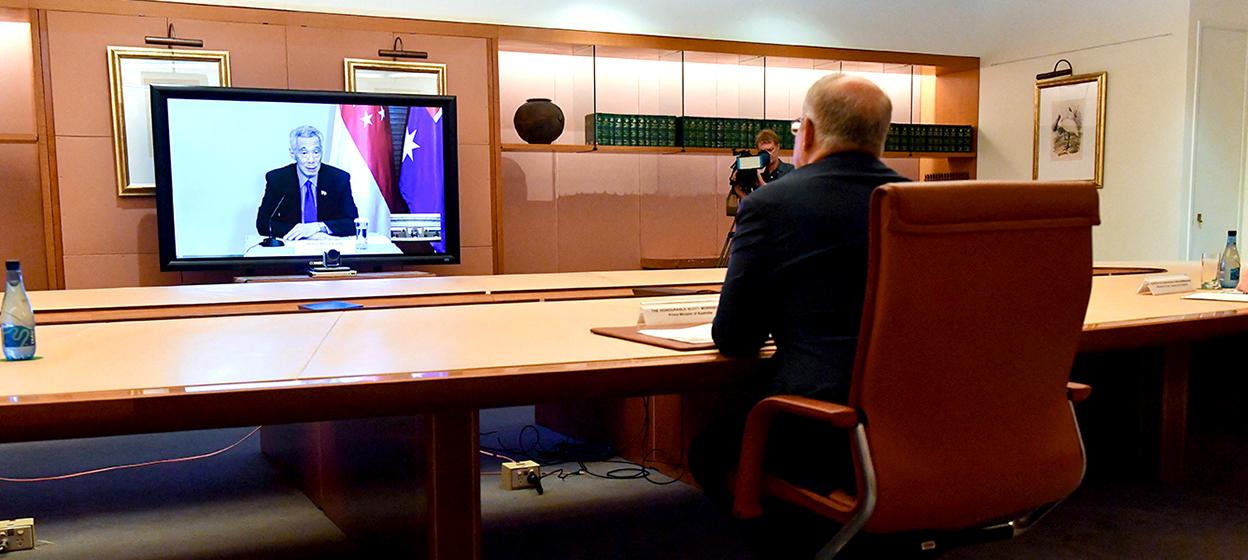Australia's Prime Minister Scott Morrison, Prime Minister Lee Hsien Loong