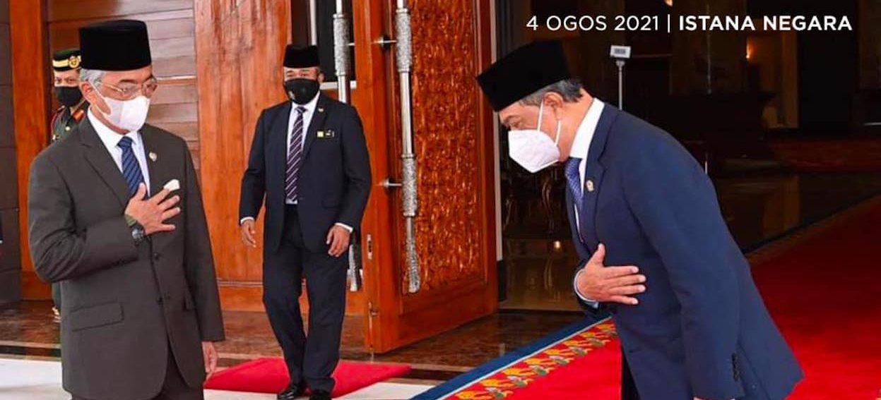 PM Muhyiddin Yassin meeting the Yang di-Pertuan Agong on 4 August, 2021. (Photo: Muhyiddin Yassin/ Facebook)