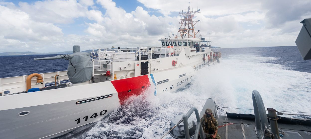 Sailors on a Mark VI patrol boat break away from the US Coast Guard cutter USCGC Oliver Henry during an integrated towing exercise in the Philippine Sea on 16 December, 2020. (Photo: Cole C. PIELOP via US Indo-Pacific Command/ Flickr)