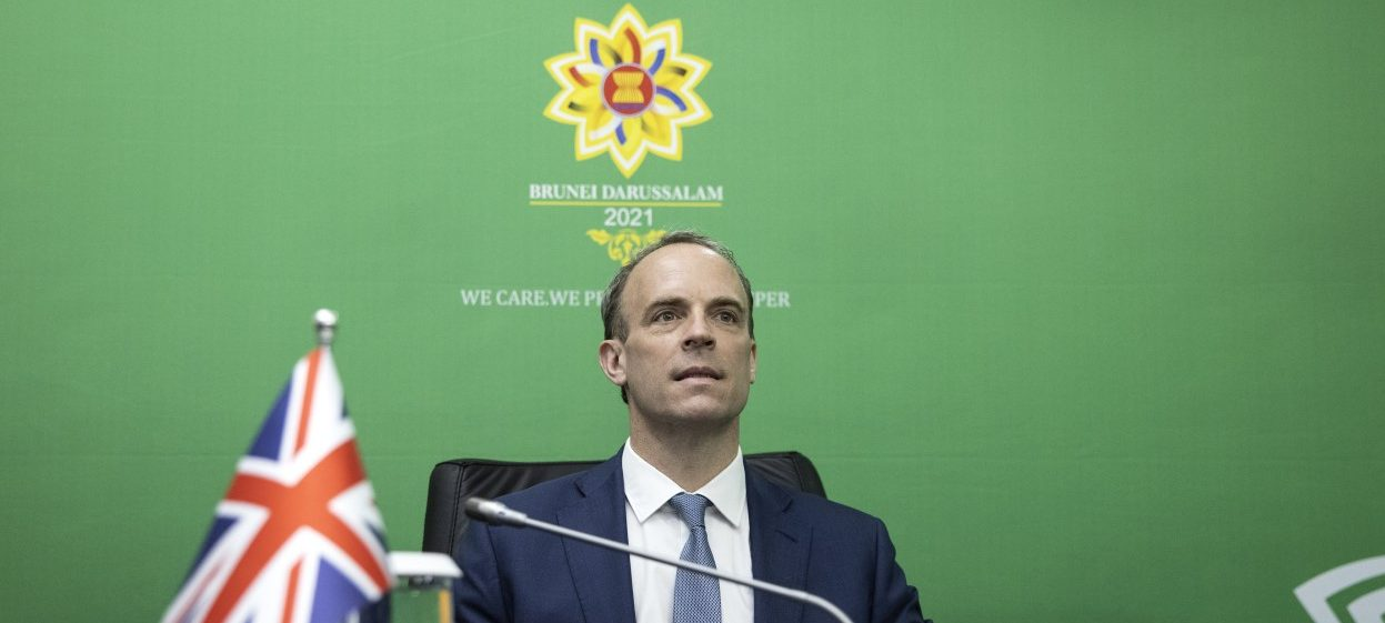 Foreign Secretary Dominic Raab attends the UK-ASEAN Foreign Ministers meeting at the International Convention Centre in Bandar Seri Begawan, Brunei. (Photo: Simon DAWSON/ No 10 Downing Street)