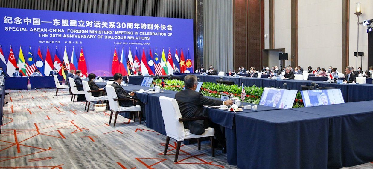 Representatives attending the Special ASEAN-China Foreign Ministers' Meeting in Celebration of the 30th anniversary of dialogue relations. (Photo: Vivian Balakrishnan/ Twitter)