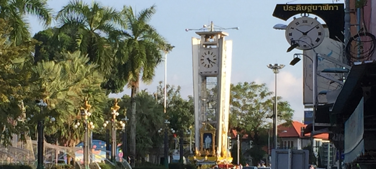 The landmark clock tower at the junction of Rama VI and Wisetkun Roads in Trang, South Thailand.