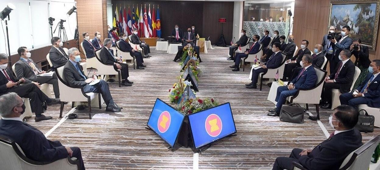 A photo taken during the ASEAN Leaders' Meeting held at the ASEAN Secretariat in Jakarta on 24 April 2021.