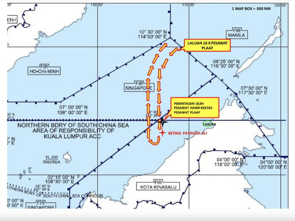 A map indicating the incident and flight path.