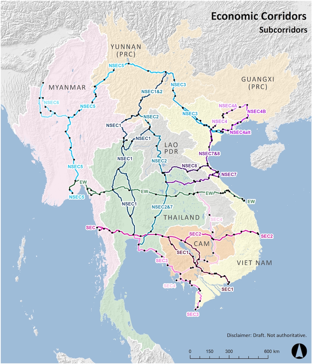 Economic corridors in the Greater Mekong Subregion. Note: SEC: Southern Economic Corridor; NSEC: North-South Economic Corridor; EWEC: East-West Economic Corridor. (Photo: The Greater Mekong Subregion)
