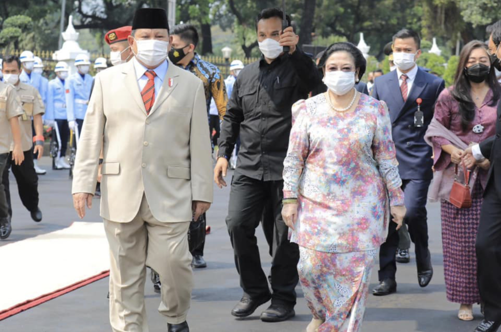 Head of Indonesia's opposition party Gerindra, Mr Prabowo Subianto, meeting Ms Megawati Sukarnoputri, chief of ruling party Indonesian Democratic Party of Struggle, on 6 June 2021.