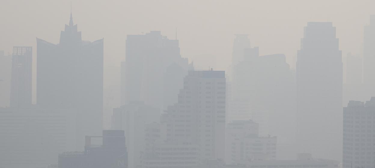 A general view of the Bangkok skyline shows haze over the city.