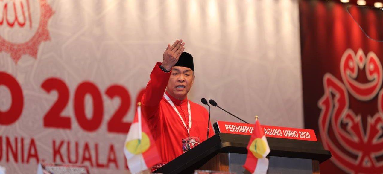 President of UMNO, Zahid Hamidi, addresses members at the UMNO General Assembly, held from 27-28 March 2021. (Photo: Zahid Hamidi/ Facebook)
